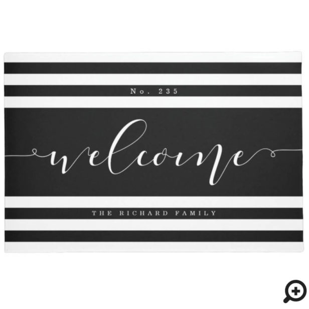 Welcome Modern Stripe House Number & Family Name Black & White Doormat