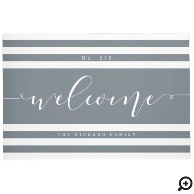 Welcome Modern Stripe House Number & Family Name Grey & White Doormat