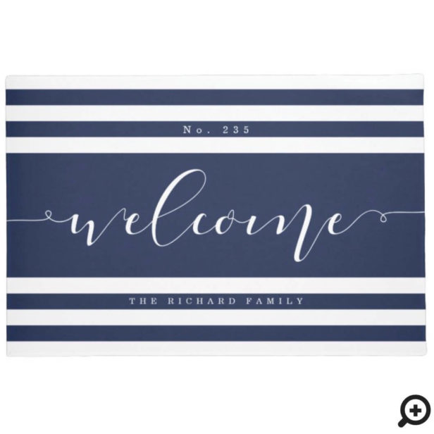 Welcome Modern Stripe House Number & Family Name Navy & White Doormat