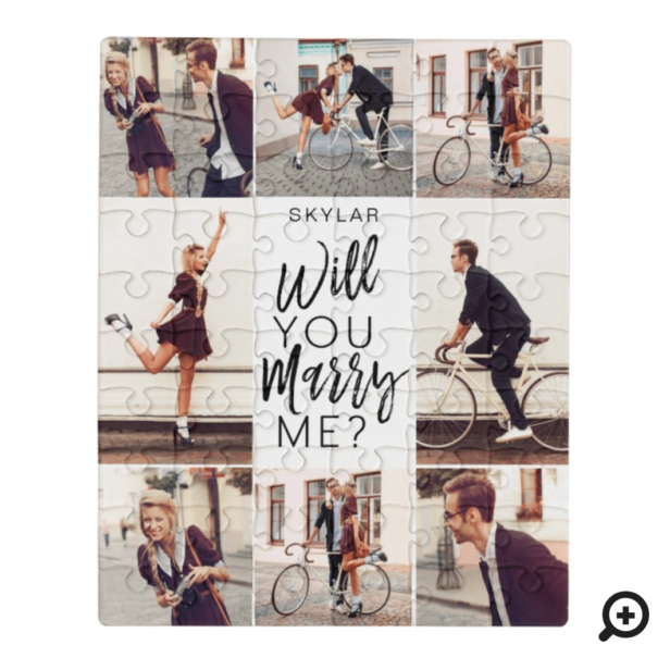 Will You Marry Me Script & Custom Photo Collage Jigsaw Puzzle