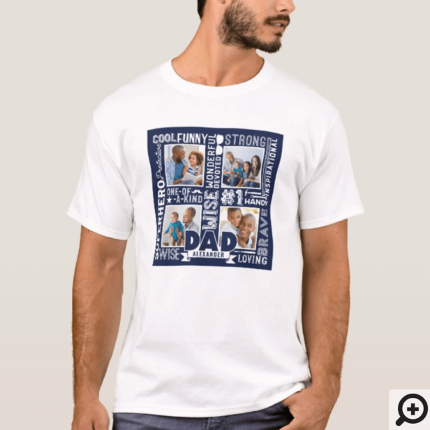 Words For #1 Dad Father's Day Photo Collage Navy T-Shirt
