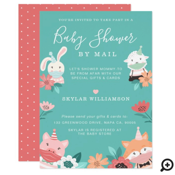 Baby Shower By Mail Cute Animals Wearing Face Mask Invitation
