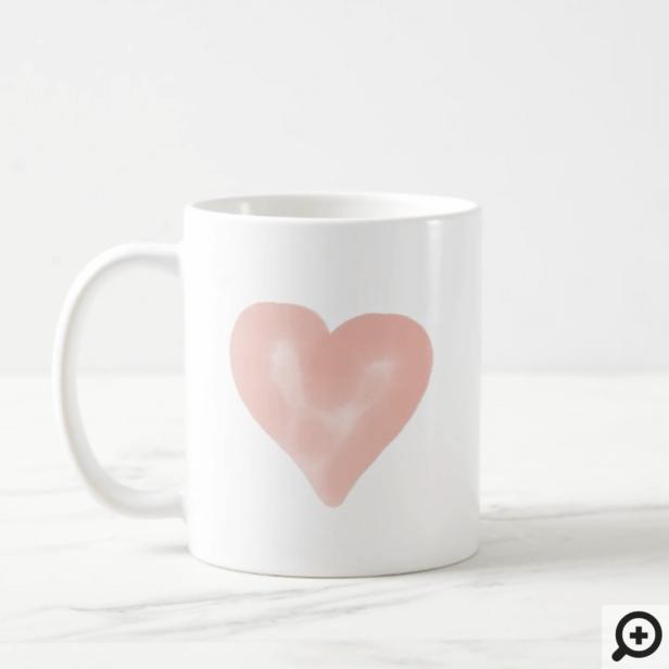 Blush Pink Watercolor Heart Love Coffee Mug