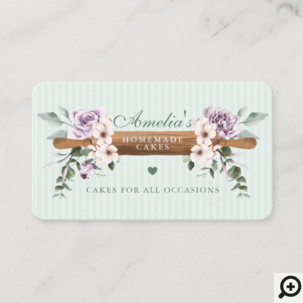 Chic Mint Floral Watercolor Bakery Rolling Pin Business Card