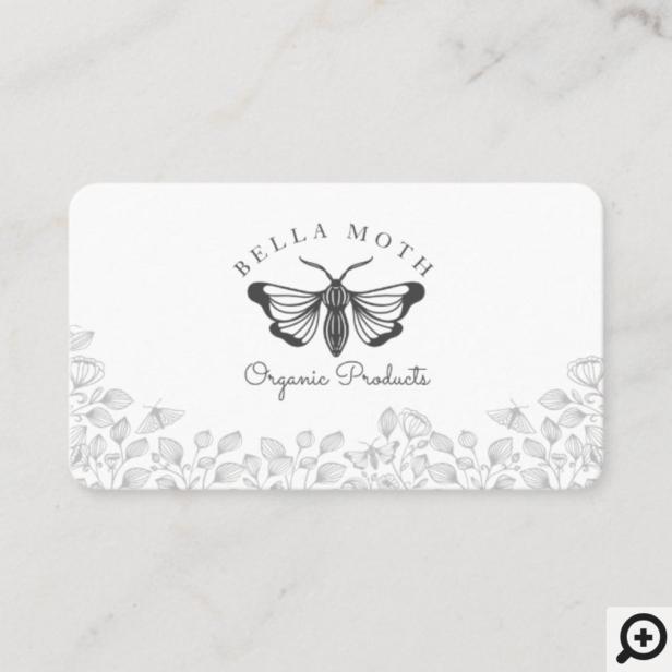 Elegant & Chic Black & White Florals & Moth Logo Business Card