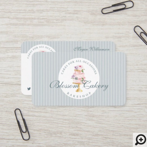 Elegant & Chic Blue Watercolor Floral Cake Bakery Business Card