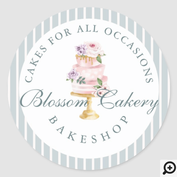 Elegant & Chic Blue Watercolor Floral Cake Bakery Classic Round Sticker