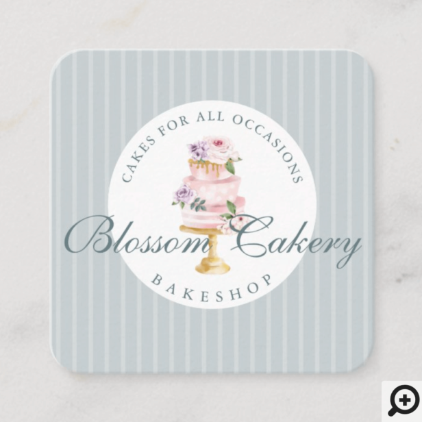 Elegant & Chic Blue Watercolor Floral Cake Bakery Square Business Card