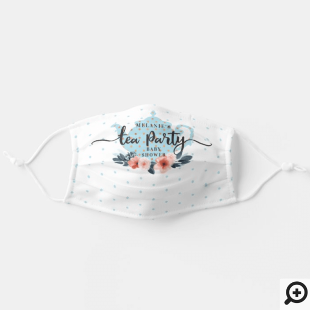 Elegant Chic Floral Tea Party Boy Baby Shower Adult Cloth Face Mask