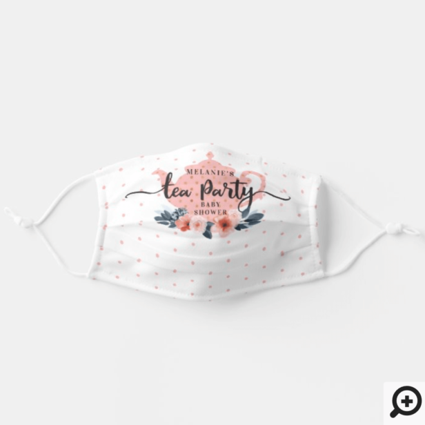 Elegant Chic Floral Tea Party Girl Baby Shower Adult Cloth Face Mask