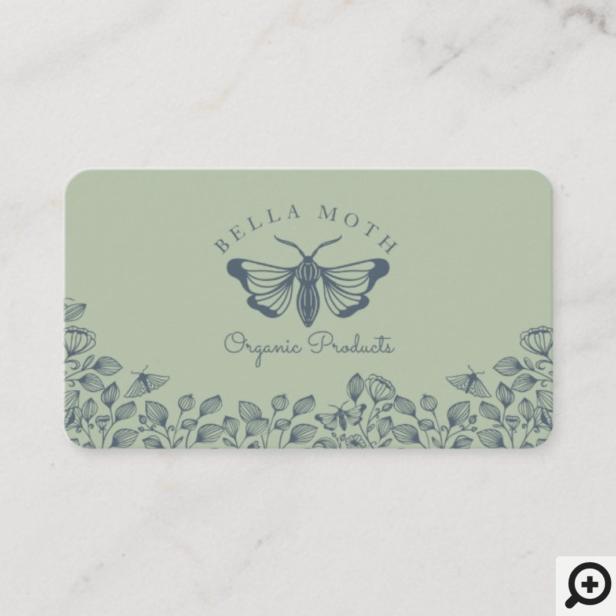 Elegant & Chic Green & Blue Florals & Moth Logo Business Card