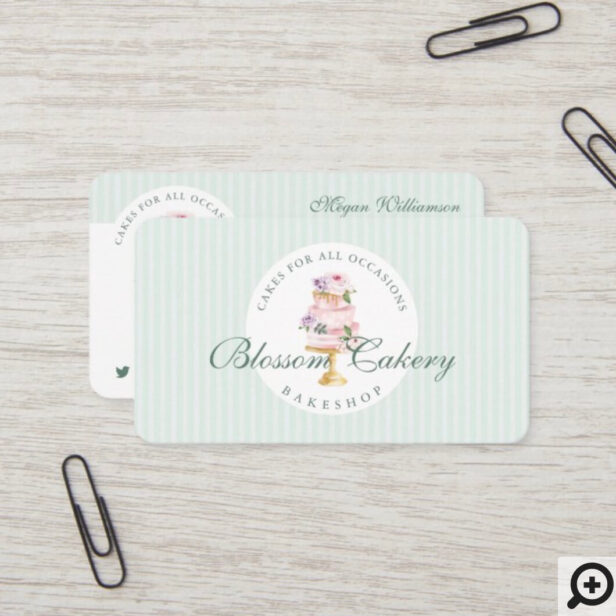 Elegant & Chic Mint Watercolor Floral Cake Bakery Business Card