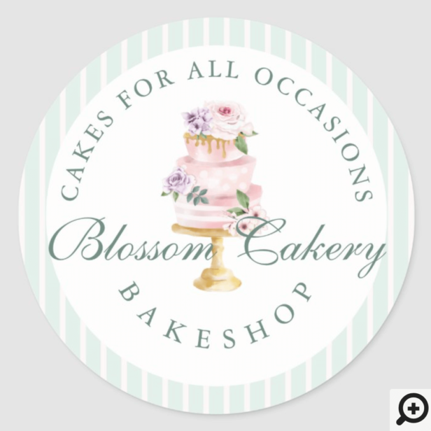 Elegant & Chic Mint Watercolor Floral Cake Bakery Classic Round Sticker