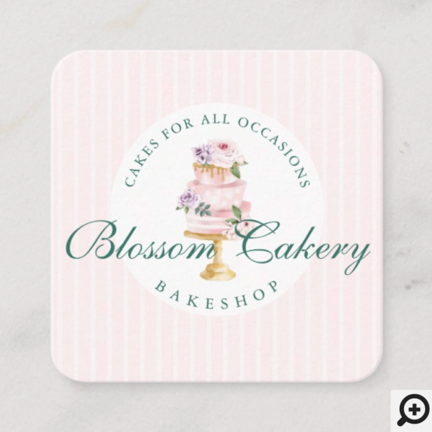 Elegant & Chic Pink Watercolor Floral Cake Bakery Square Business Card