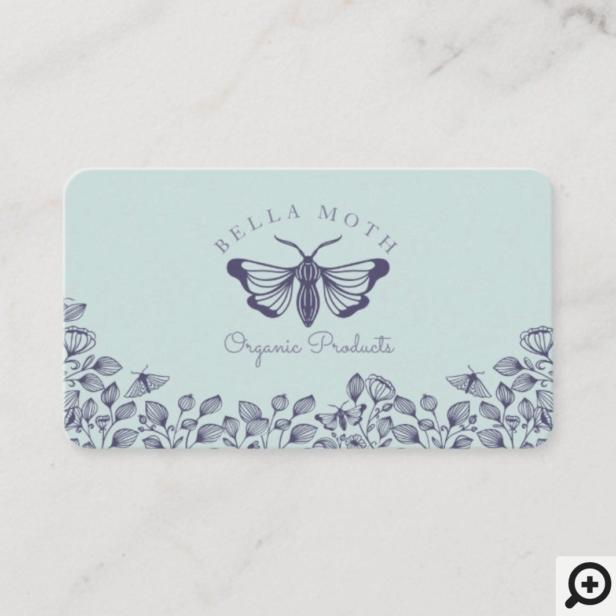 Elegant & Chic Teal & Purple Florals & Moth Logo Business Card