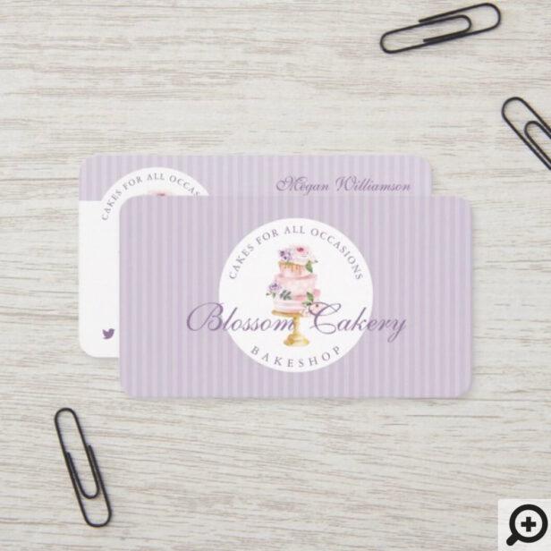 Elegant Chic Violet Watercolor Floral Cake Bakery Business Card