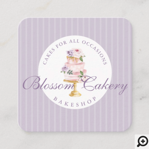 Elegant Chic Violet Watercolor Floral Cake Bakery Square Business Card