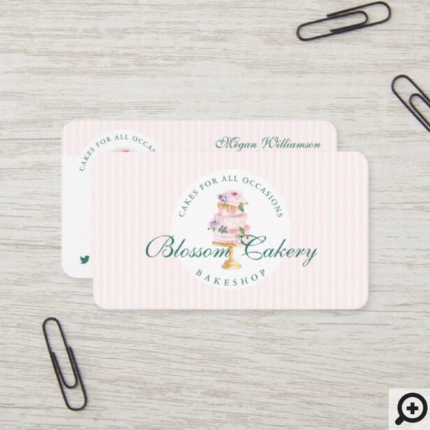 Elegant & Chic Watercolor Floral Cake Bakery Business Card