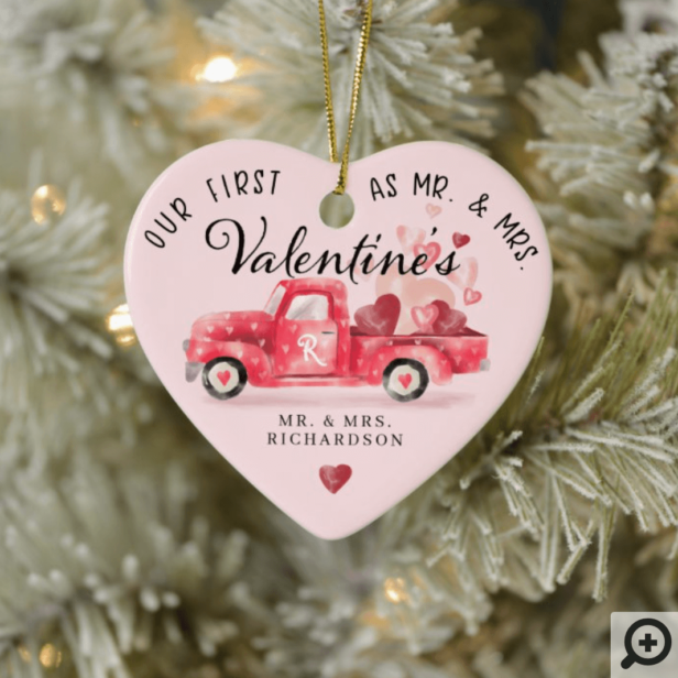 First Valentine's As Mr & Mrs Red Watercolor Truck Ceramic Ornament