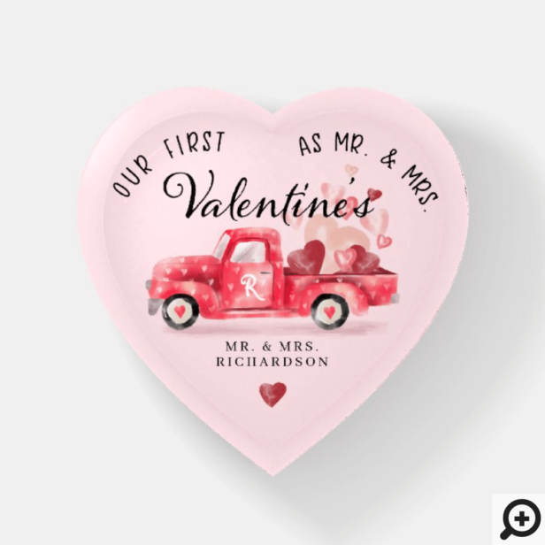 First Valentine's As Mr & Mrs Red Watercolor Truck Paperweight