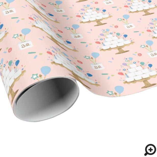 Fun Roll With It Covid Toilet Paper Birthday Cake Pink Wrapping Paper
