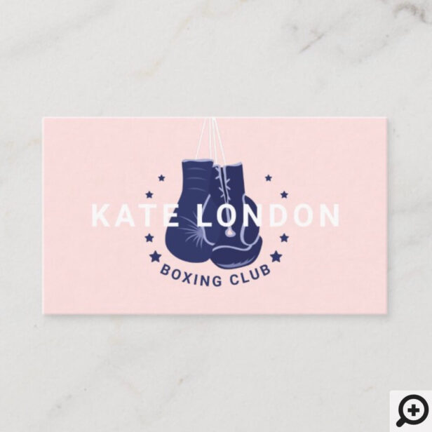 Girly Modern Trendy Online Navy Boxing Gloves Club Business Card