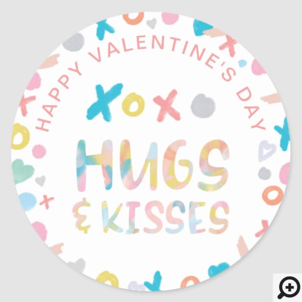 Happy Valentine's Day Watercolor XOX Hugs & Kisses Classic Round Sticker