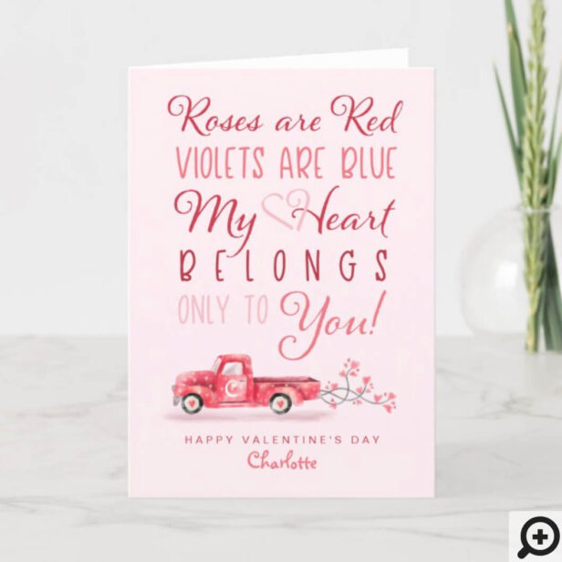 Heart Belongs to You Newlyweds Red Vintage Truck Holiday Card