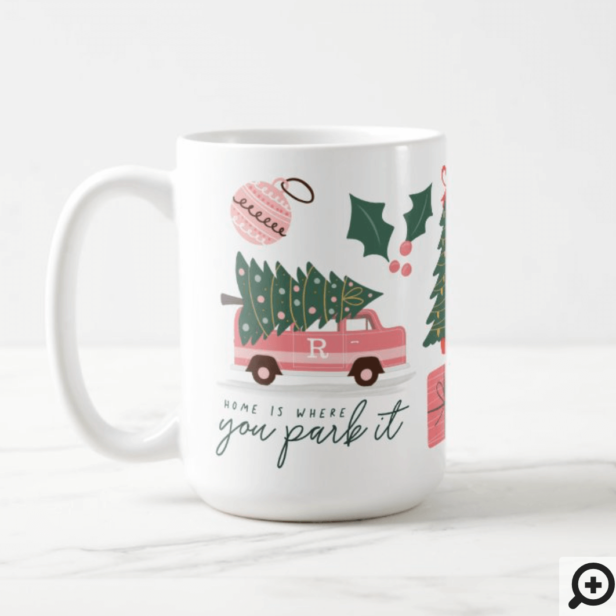 Home Is Where You Park It Pink Van Christmas Tree Coffee Mug