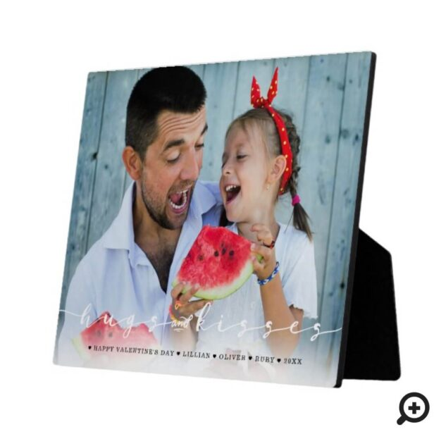 Hugs & Kisses Happy Valentine's Day Family Photo Plaque