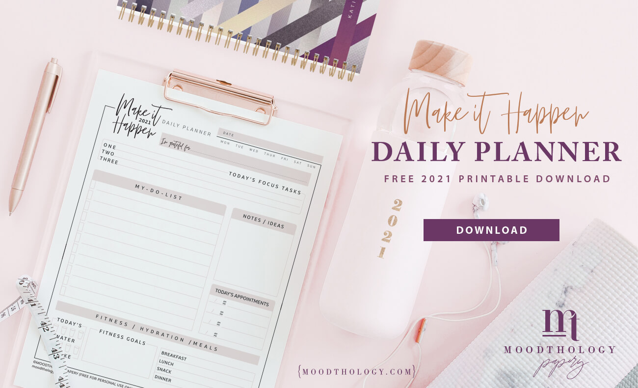 free printable daily planner By Moodthology Papery