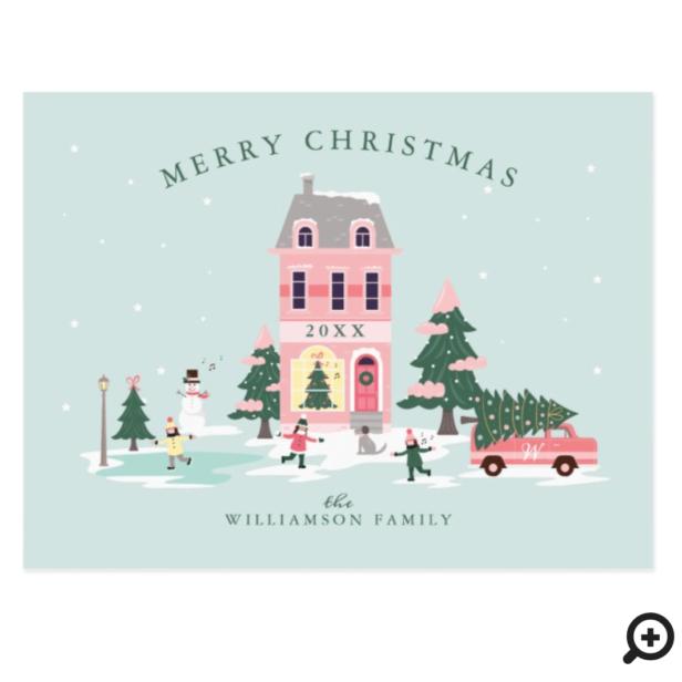 Merry Christmas Pink Vintage Town Scenery & Van Postcard