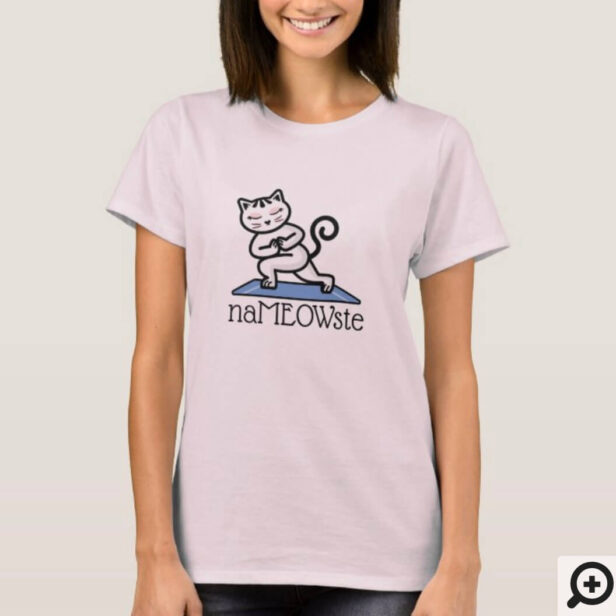 NaMEOWste Cat In a Yoga Meditating Pose T-Shirt