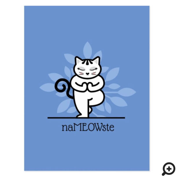 NaMEOWste Cat In a Yoga Meditating Tree Pose Blue Postcard