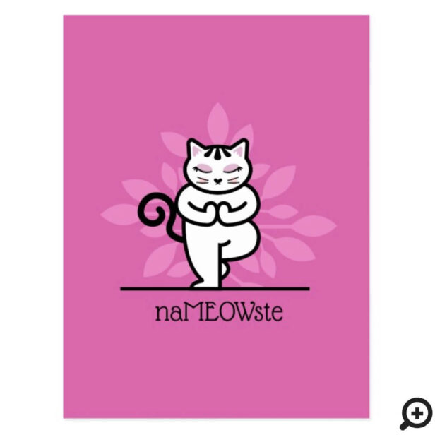 NaMEOWste Cat In a Yoga Meditating Tree Pose Pink Postcard