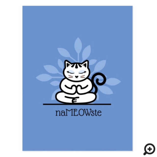 NaMEOWste Cute Cat In a Yoga Meditating Pose Blue Postcard