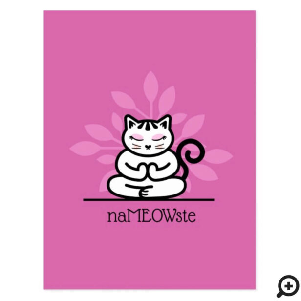 NaMEOWste Cute Cat In a Yoga Meditating Pose Pink Postcard