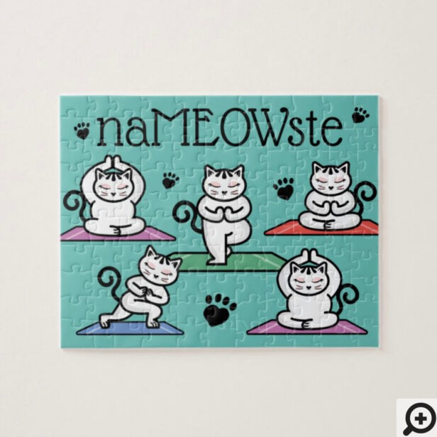 NaMEOWste Cute Cats in Yoga Meditating Poses Jigsaw Puzzle