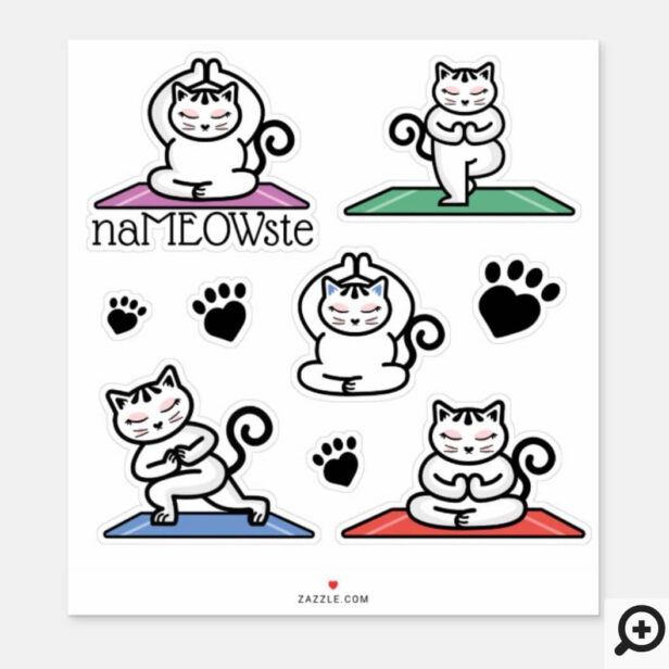 NaMEOWste Cute Cats in Yoga Meditating Poses Sticker