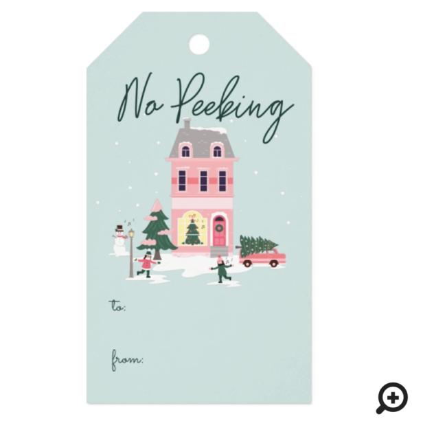 No Peeking Christmas Town & Tree Vintage Van Gift Tags