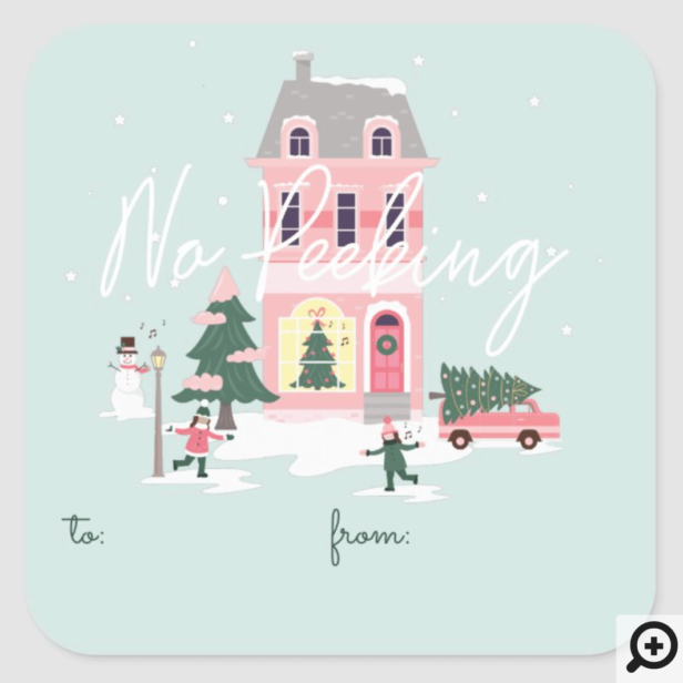 No Peeking Christmas Town & Tree Vintage Van Square Sticker