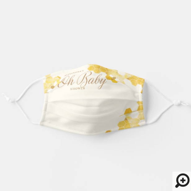 Oh Baby Bee Baby Shower Honey Comb And bee Yellow Adult Cloth Face Mask