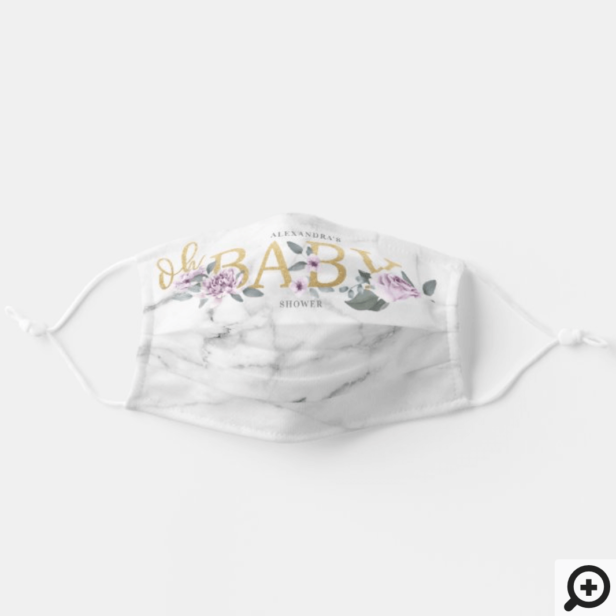 Oh Baby Shower Violet Watercolor Floral Marble Adult Cloth Face Mask