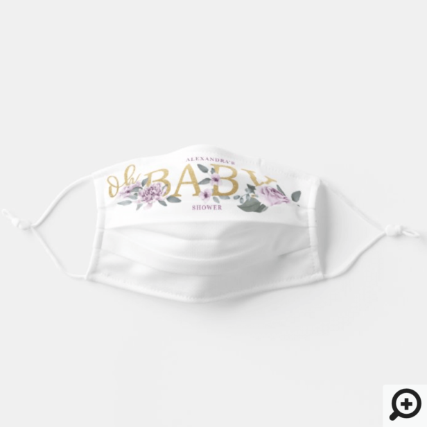 Oh Baby Shower Watercolor Floral Violet Rose White Adult Cloth Face Mask