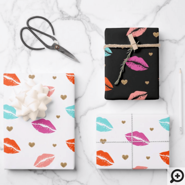 Pink, Orange & Blue Lips & Gold Hearts Valentine Wrapping Paper Sheets