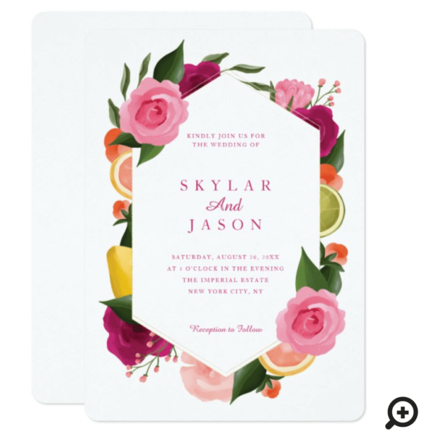 Pink Punch Watercolour Fruity Citrus Floral White Invitation