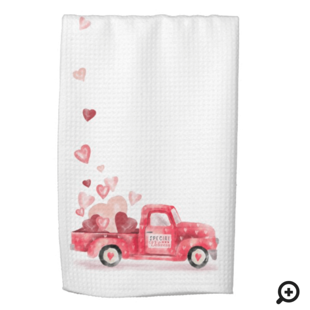 Special Delivery Valentine Hearts Watercolor Truck Kitchen Towel