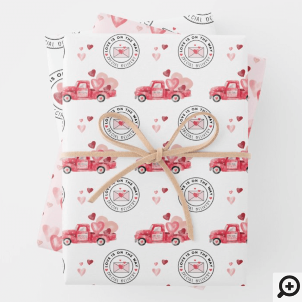 Special Delivery Valentine Hearts Watercolor Truck Wrapping Paper Sheets
