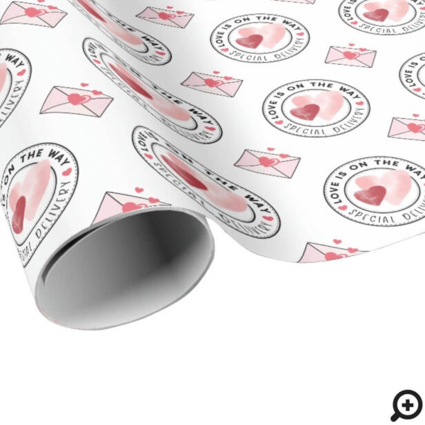 Special Delivery Watercolor Valentine Hearts Wrapping Paper