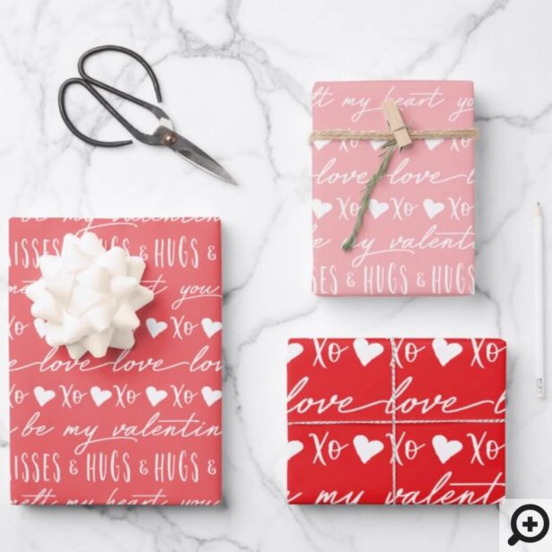 Trendy Red & Pink Calligraphy Be My Valentine Wrapping Paper Sheets